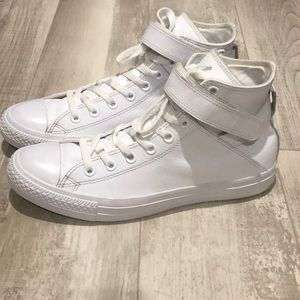 Converse all white leather with strap